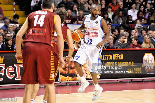 Zabian Dowdell of Red October competes with Tomas Ress and Ariel Fillof of Umana during the LegaBasket of Serie A1 match between Reyer Umana Venezia...