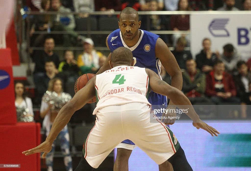 Zabian Dowdell (Behind) of Zenit St.-Petersburg in action against Dontaye Draper (Front) of Lokomotiv-Kuban Krasnodar during VTB-League basketball match between Zenit St.Petersburg and Lokomotiv-Kuban Krasnodar at the SIBUR Arena in Saint-Petersburg , Russia on April 28, 2016.