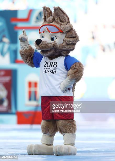 Zabivaka the Official Mascot for the 2018 FIFA World Cup Russia performs during the opening ceromony prior to the FIFA Confederations Cup Russia 2017...