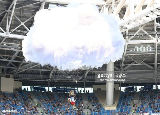 Zabivaka the Official Mascot for the 2018 FIFA World Cup Russia enters the stadium during the opening ceromony prior to the FIFA Confederations Cup...