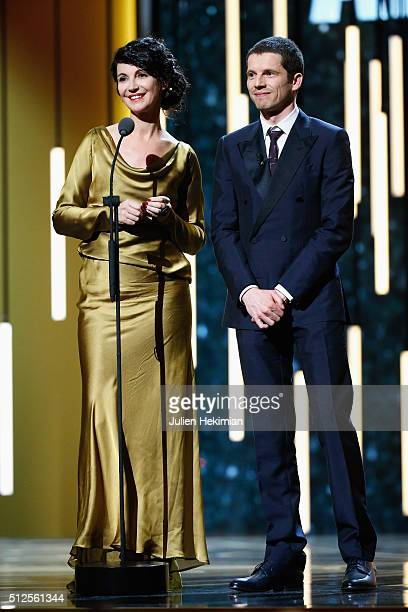 Zabou Breitman and Pierre Deladonchamps speak on stage during The Cesar Film Award 2016 at Theatre du Chatelet on February 26 2016 in Paris France
