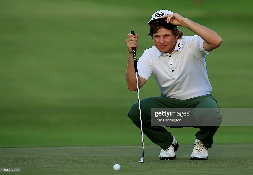 Zac Blair lines up a putt on the 18th green during the third round of the Sony Open In Hawaii at Waialae Country Club on January 16 2016 in Honolulu...