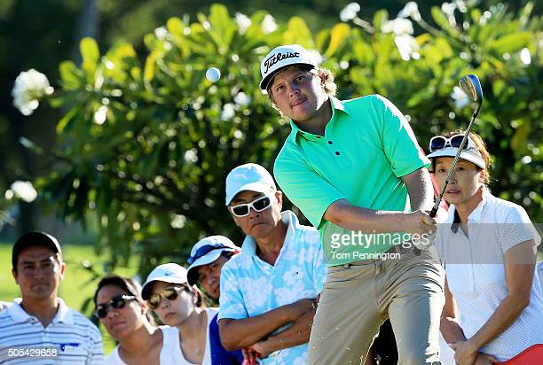 Zac Blair plays a shot on the 14th hole during the final round of the Sony Open In Hawaii at Waialae Country Club on January 17 2016 in Honolulu...