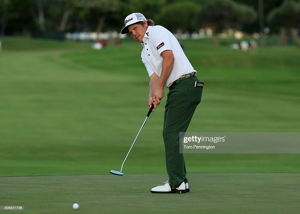Zac Blair putts on the 18th green during the third round of the Sony Open In Hawaii at Waialae Country Club on January 16 2016 in Honolulu Hawaii