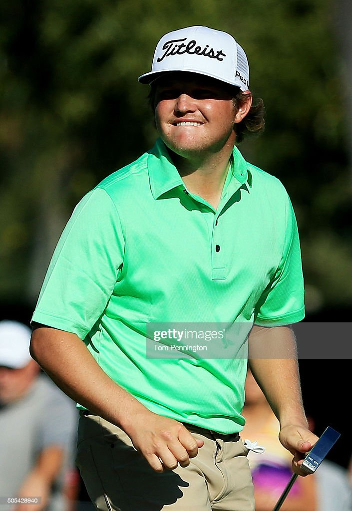 Zac Blair reacts on the 13th green during the final round of the Sony Open In Hawaii at Waialae Country Club on January 17 2016 in Honolulu Hawaii