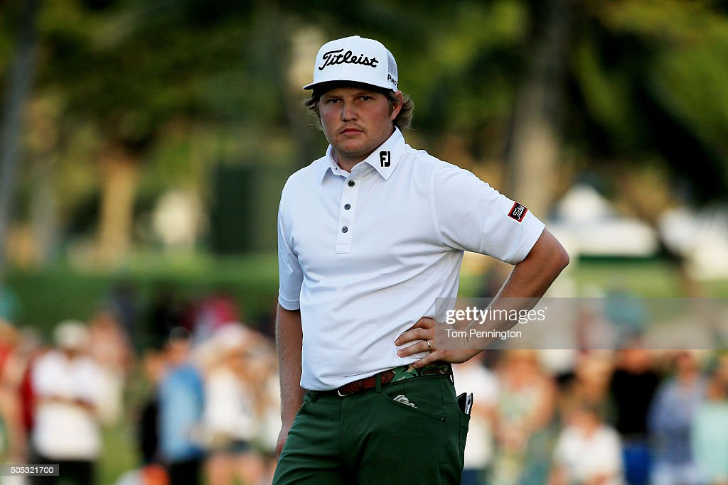 Zac Blair reacts on the 18th green during the third round of the Sony Open In Hawaii at Waialae Country Club on January 16 2016 in Honolulu Hawaii