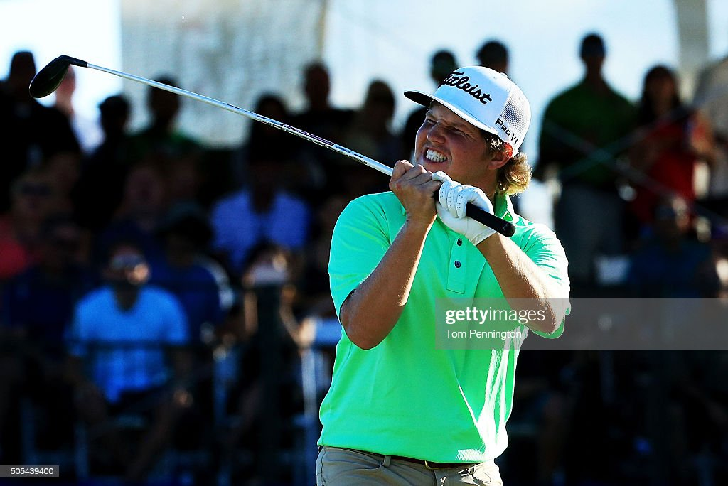 Zac Blair reacts to a missed putt on the 17th green during the final round of the Sony Open In Hawaii at Waialae Country Club on January 17 2016 in...