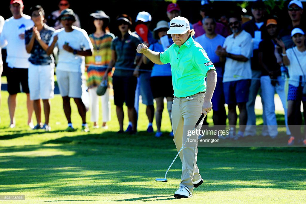 Zac Blair reacts to his birdie putt on the 12th green during the final round of the Sony Open In Hawaii at Waialae Country Club on January 17 2016 in...