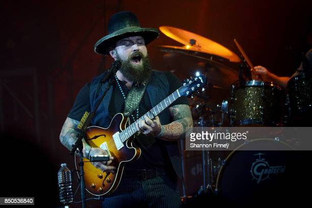 Zac Brown and his band perform at the VetsAid Charity Benefit Concert at Eagle Bank Arena on September 20 2017 in Fairfax Virginia