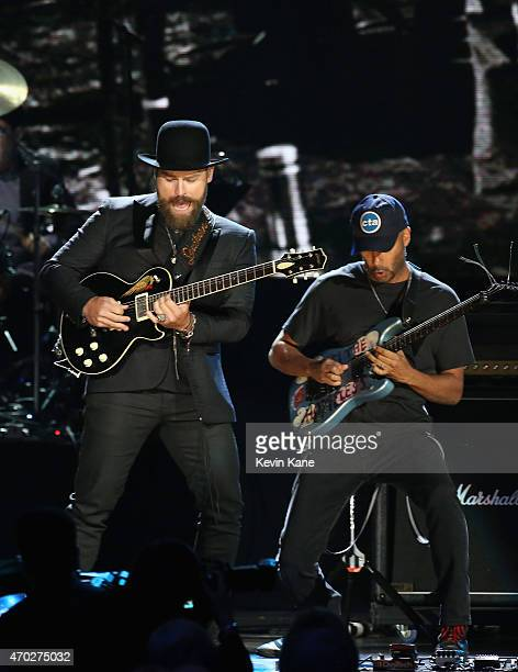 Zac Brown and Tom Morello perfom Paul Butterfield Blues Band onstage during the 30th Annual Rock And Roll Hall Of Fame Induction Ceremony at Public...