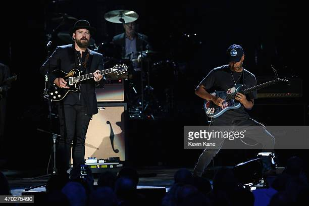 Zac Brown and Tom Morello perfom songs by The Paul Butterfield Blues Band onstage during the 30th Annual Rock And Roll Hall Of Fame Induction...