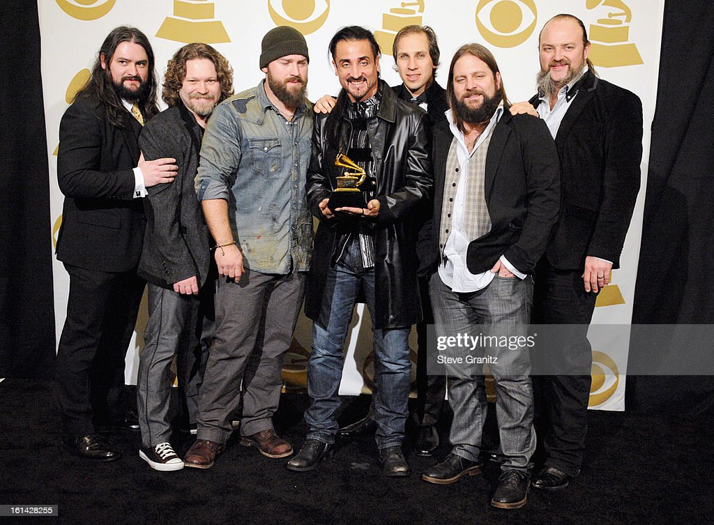 Zac Brown Band poses in the press room during the 55th Annual GRAMMY Awards at STAPLES Center on February 10, 2013 in Los Angeles, California.