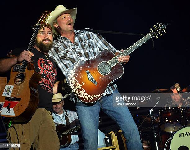 Zac Brown joins Alan Jackson and perform together at the 2012 BamaJam Music and Arts Festival Day 2 on BamaJam Farms in Enterprise Alabama on June 15...