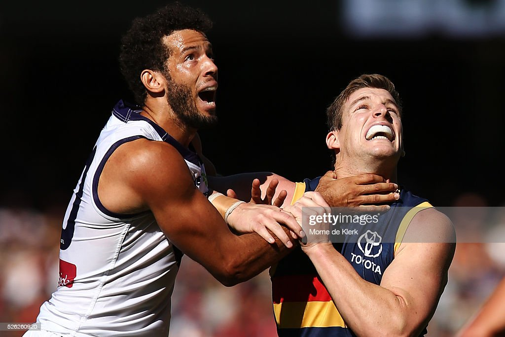Zac Clarke of the Dockers competes with Josh Jenkins of the Crows during the round six AFL match between the Adelaide Crows and the Fremantle Dockers at Adelaide Oval on April 30, 2016 in Adelaide, Australia.
