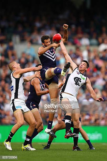 Zac Clarke of the Dockers contests a mark against Liam Jones and Matthew Kreuzer of the Blues during the round five AFL match between the Fremantle...