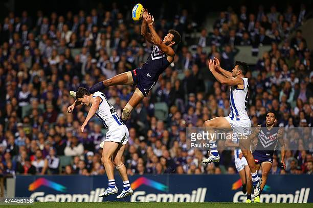 Zac Clarke of the Dockers sets for a mark during the round eight AFL match between the Fremantle Dockers and the North Melbourne Kangaroos at Domain...
