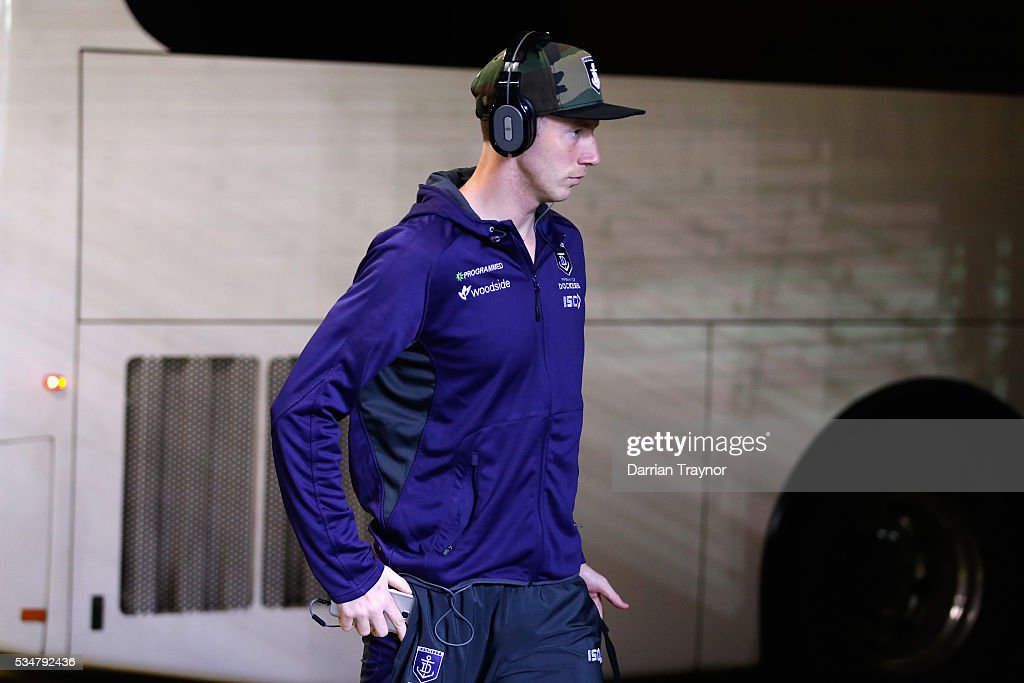 Zac Dawson of the Dockers arrives before the round 10 AFL match between the St Kilda Saints and the Fremantle Dockers at Etihad Stadium on May 28, 2016 in Melbourne, Australia.