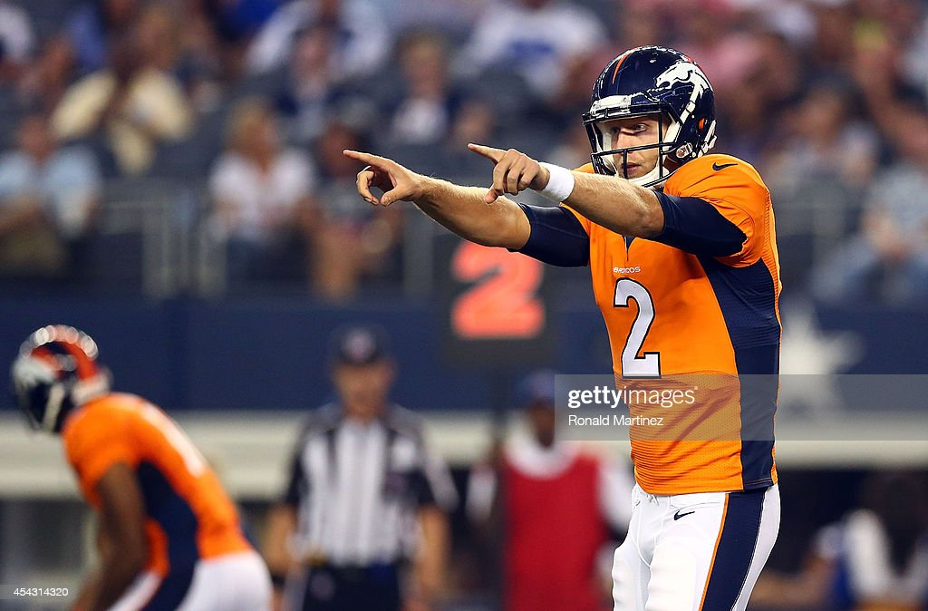 <a gi-track='captionPersonalityLinkClicked' href=/galleries/search?phrase=Zac+Dysert&family=editorial&specificpeople=7172634 ng-click='$event.stopPropagation()'>Zac Dysert</a> #2 of the Denver Broncos directs the offense against the Dallas Cowboys in the second half of a preseason game at AT&T Stadium on August 28, 2014 in Arlington, Texas.