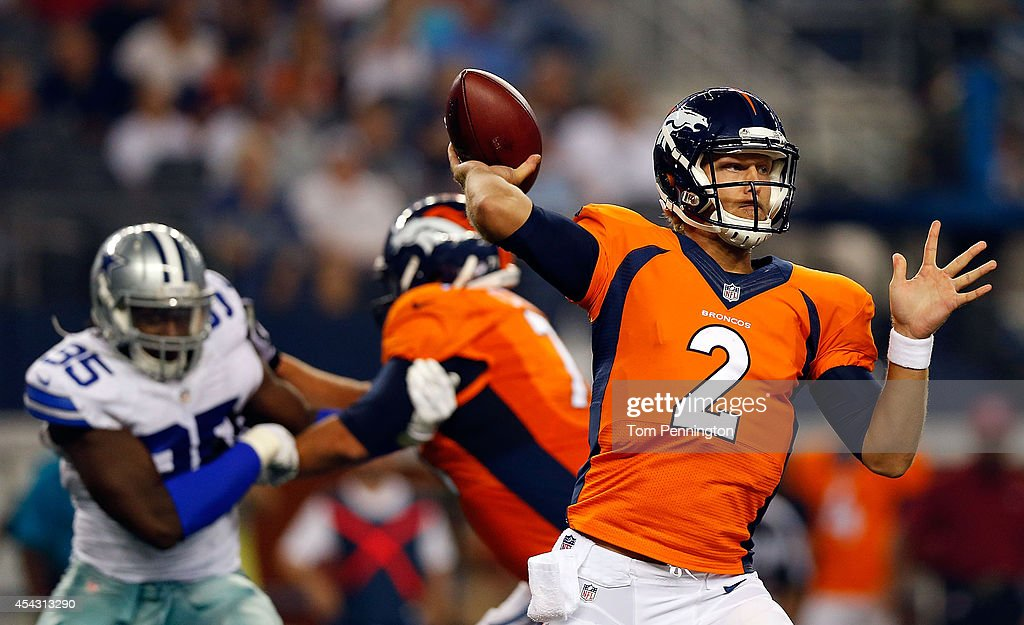 <a gi-track='captionPersonalityLinkClicked' href=/galleries/search?phrase=Zac+Dysert&family=editorial&specificpeople=7172634 ng-click='$event.stopPropagation()'>Zac Dysert</a> #2 of the Denver Broncos passes against the Dallas Cowboys in the second half of their preseason game at AT&T Stadium on August 28, 2014 in Arlington, Texas.