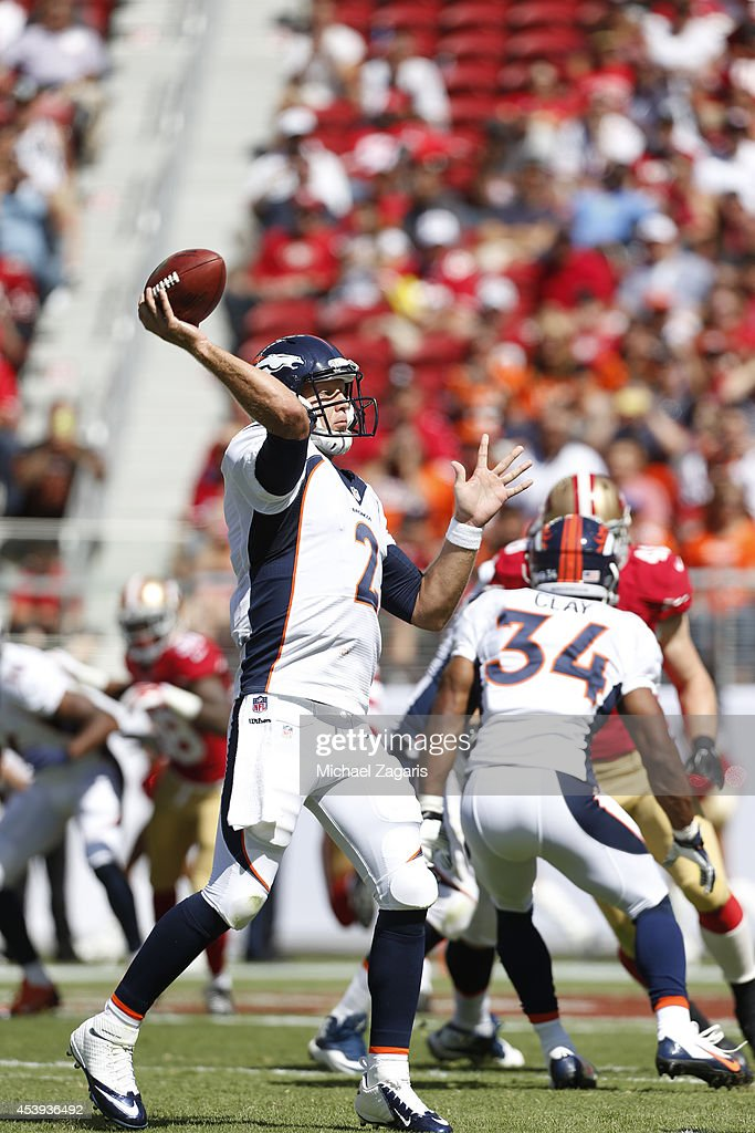 <a gi-track='captionPersonalityLinkClicked' href=/galleries/search?phrase=Zac+Dysert&family=editorial&specificpeople=7172634 ng-click='$event.stopPropagation()'>Zac Dysert</a> #2 of the Denver Broncos passes during the game against the San Francisco 49ers at Levi Stadium on August 17, 2014 in Santa Clara, California. The Broncos defeated the 49ers 34-0.