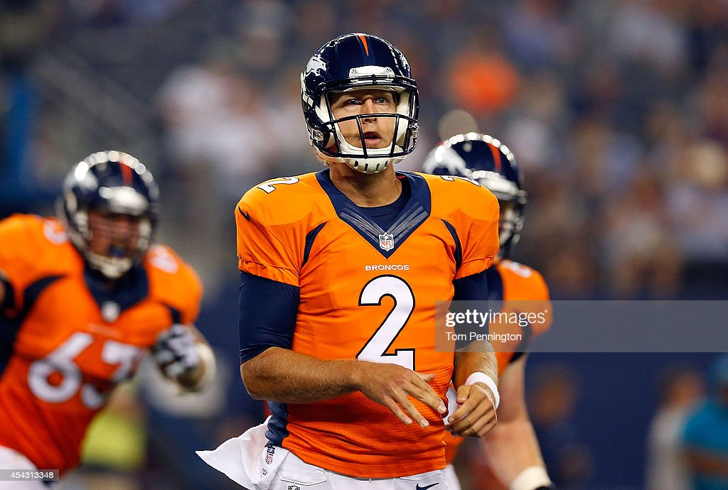 <a gi-track='captionPersonalityLinkClicked' href=/galleries/search?phrase=Zac+Dysert&family=editorial&specificpeople=7172634 ng-click='$event.stopPropagation()'>Zac Dysert</a> #2 of the Denver Broncos watches against the Dallas Cowboys in the second half of their preseason game at AT&T Stadium on August 28, 2014 in Arlington, Texas.