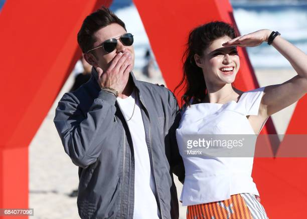 Zac Efron and Alexandra Daddario on Bondi Beach to promote Baywatch on May 17 2017 in Sydney Australia