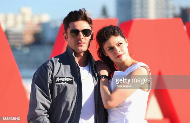 Zac Efron and Alexandra Daddario pose during a photo call for Baywatch on May 17 2017 in Sydney Australia