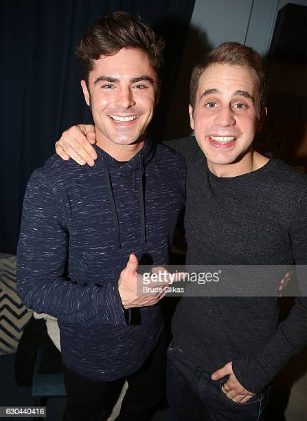 Zac Efron and Ben Platt pose backstage at the hit musical 'Dear Evan Hansen' on Broadway at The Music Box Theater on December 22 2016 in New York City