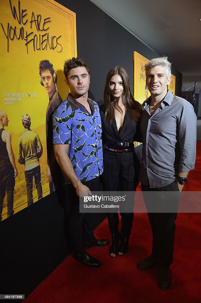 Zac Efron and Emily Ratajkowski and Max Joseph attend 'We Are Your Friends' screeningat Regal Cinemas South Beach Stadium 18 on August 15, 2015 in Miami, Florida.
