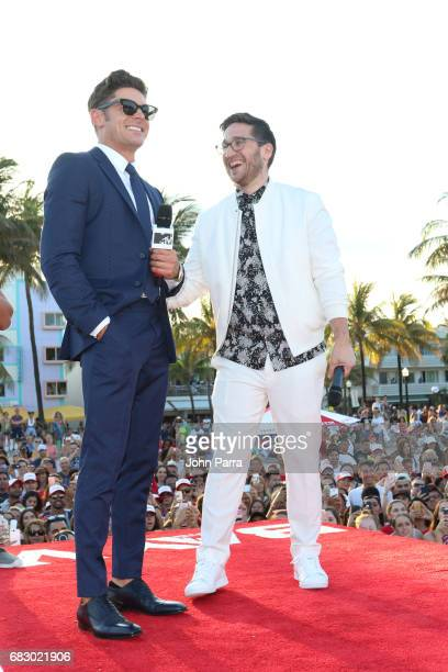 Zac Efron and Josh Horowitz attend the world premiere of Paramount Pictures film 'Baywatch' at South Beach on May 13 2017 in Miami Florida