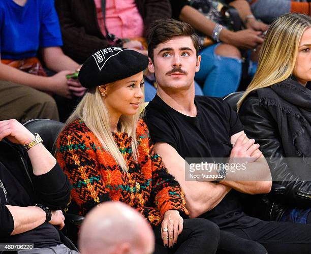 Zac Efron and Sami Miro attend a basketball game between the Oklahoma City Thunder and the Los Angeles Lakers at Staples Center on December 19 2014...