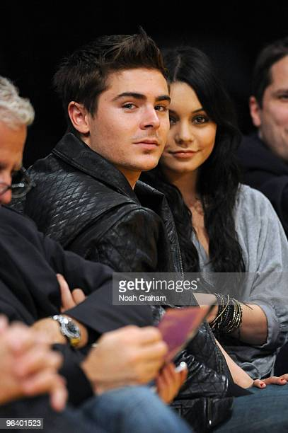 Zac Efron and Vanessa Hudgens attend a game between the Charlotte Bobcats and the Los Angeles Lakers at Staples Center on February 3 2010 in Los...