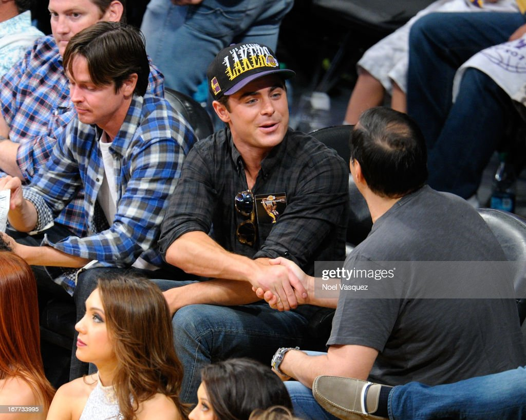 <a gi-track='captionPersonalityLinkClicked' href=/galleries/search?phrase=Zac+Efron&family=editorial&specificpeople=533070 ng-click='$event.stopPropagation()'>Zac Efron</a> attends an NBA playoff game between the San Antonio Spurs and the Los Angeles Lakers at Staples Center on April 28, 2013 in Los Angeles, California.