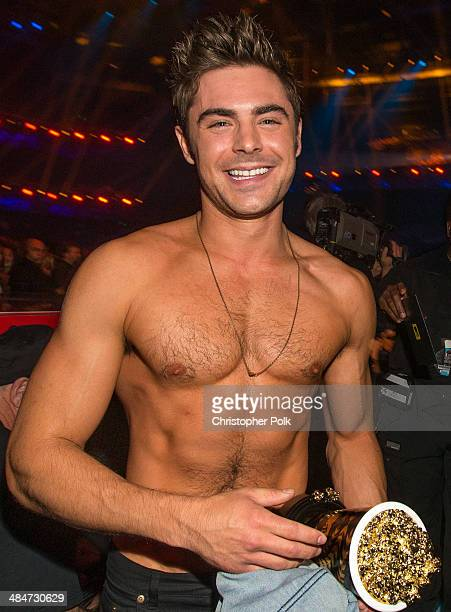 Zac Efron attends the 2014 MTV Movie Awards at Nokia Theatre LA Live on April 13 2014 in Los Angeles California