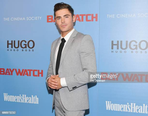 Zac Efron attends The Cinema Society's Screening Of 'Baywatch' at Landmark Sunshine Cinema on May 22 2017 in New York City