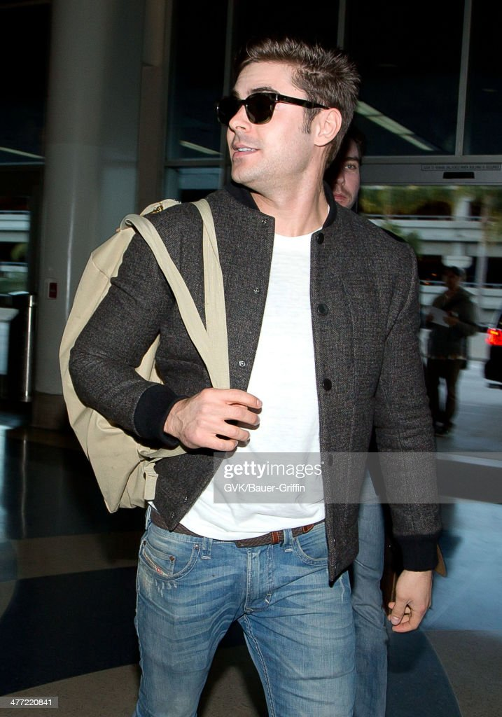 Zac Efron is seen at LAX on March 07, 2014 in Los Angeles, California.