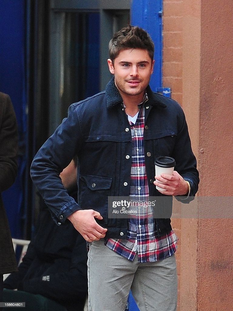 Zac Efron is seen on the set of 'Are we officially Dating?' at Streets of Manhattan on December 20, 2012 in New York City.