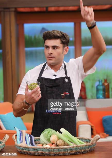 Zac Efron is seen on the set of 'Despierta America' to promote the film 'Baywatch' at Univision Studios on May 12 2017 in Miami Florida