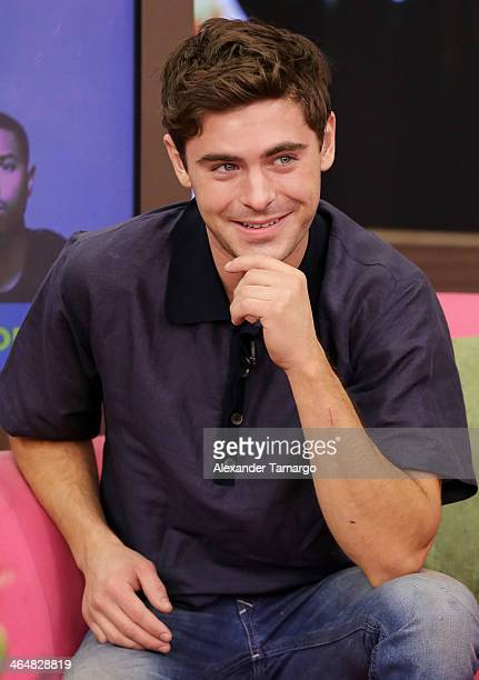 Zac Efron is seen on the set of Univision's 'Despierta America' to promote the movie 'That Awkward Moment' at Univision Headquarters on January 24...