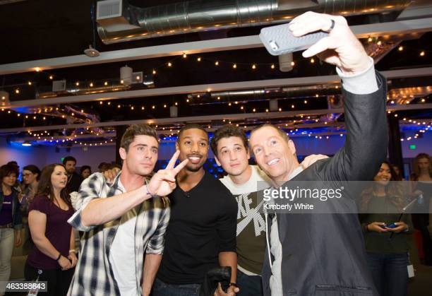 Zac Efron Michael B Jordan Miles Teller and Mark Allen take a picture together at Facebook headquarters on January 14 2014 in San Francisco California