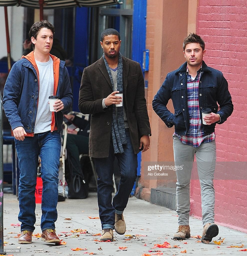 Zac Efron, Miles Teller and Michael B. Jordan are seen on the set of 'Are we offically dating?' at Streets of Manhattan on December 20, 2012 in New York City.