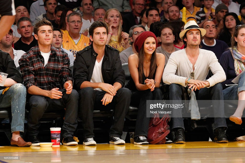 <a gi-track='captionPersonalityLinkClicked' href=/galleries/search?phrase=Zac+Efron&family=editorial&specificpeople=533070 ng-click='$event.stopPropagation()'>Zac Efron</a>, Ryan Rottman, <a gi-track='captionPersonalityLinkClicked' href=/galleries/search?phrase=Nina+Dobrev&family=editorial&specificpeople=4397485 ng-click='$event.stopPropagation()'>Nina Dobrev</a> and <a gi-track='captionPersonalityLinkClicked' href=/galleries/search?phrase=Ian+Somerhalder&family=editorial&specificpeople=614226 ng-click='$event.stopPropagation()'>Ian Somerhalder</a> attend Game Five of the Western Conference Finals between the Phoenix Suns and the Los Angeles Lakers during the 2010 NBA Playoffs at Staples Center on May 27, 2010 in Los Angeles, California.