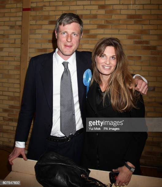 Zac Goldsmith celebrates winning the seat for Richmond Park with his sister Jemima Khan at Richmond upon Thames College