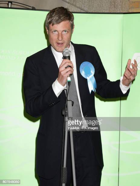 Zac Goldsmith speaks after winning the seat for Richmond Park at Richmond upon Thames College