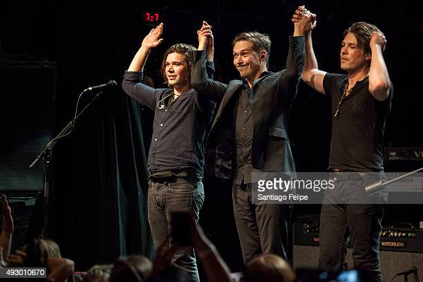 Zac Hanson Isaac Hanson and Taylor Hanson of Hanson perform onstage at Irving Plaza on October 16 2015 in New York City