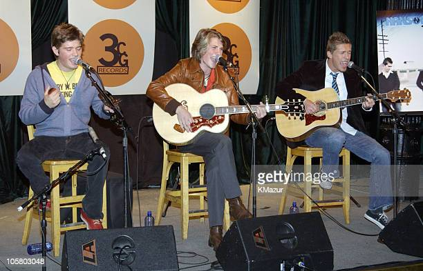 Zac Hanson Taylor Hanson and Isaac Hanson during Hanson Press Conference and Performance at Bottom Line in New York City New York United States