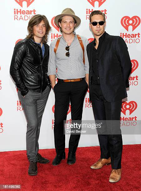 Zac Hanson Taylor Hanson and Isaac Hanson of Hanson attend the iHeartRadio Music Festival at the MGM Grand Garden Arena on September 21 2013 in Las...