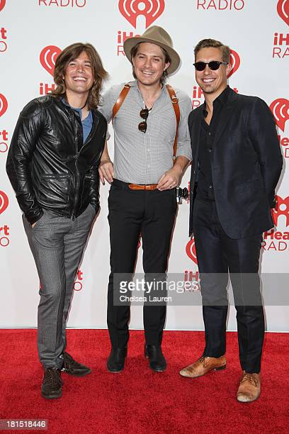 Zac Hanson Taylor Hanson and Isaac Hanson of Hanson pose in the iHeartRadio music festival photo room on September 21 2013 in Las Vegas Nevada