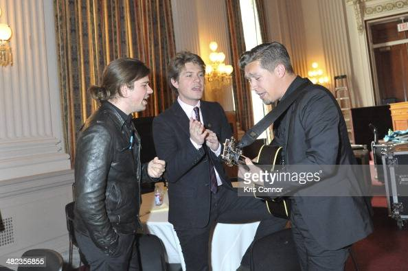 Zac Hanson Taylor Hanson and Isaac Hanson perform during an issue briefing to kick off the Grammy's on the hill lobbying day at Cannon House Office...