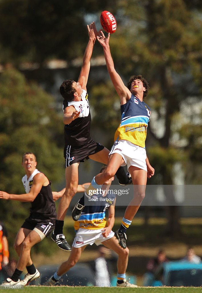 Zac May of the Pioneers competes for the ball during the round one TAC Cup match between the North Ballarat Rebels and the Bendigo Pioneers at Eureka Stadium on April 2, 2011 in Melbourne, Australia.